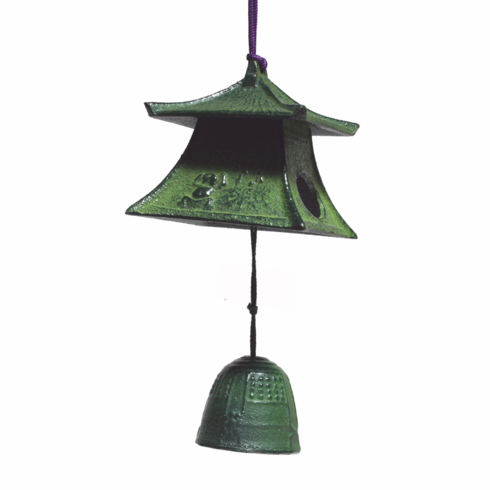 Japanese Cast Iron  Patina Lantern & Bell Furin Windchime