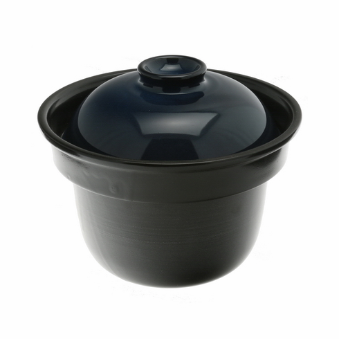 Japanese Earthenware Rice Cooker<br>Black with Indigo Color Lid