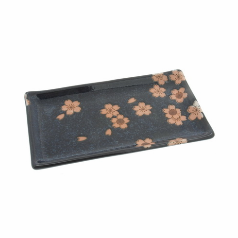 Japanese Moonlit Sakura Rectangular<br> Plate 8-5/8""