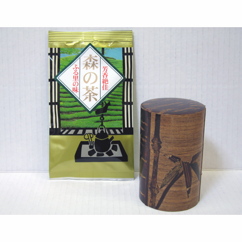 Japanese Sencha, 50 grams and Cherrywood Bamboo Canister, Holds 90 Grams