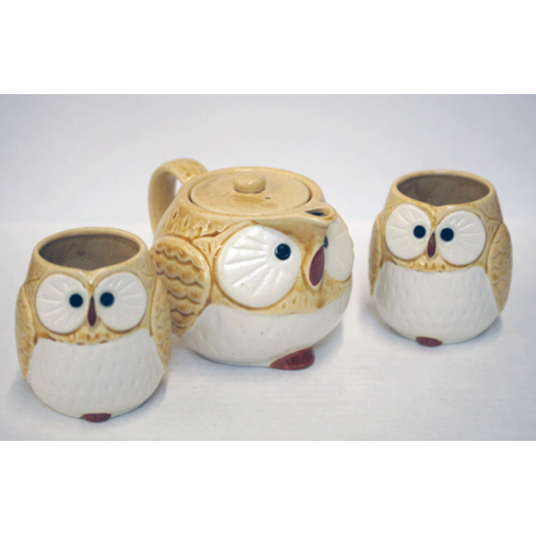 Kizeto/Beige and White Owl/Fukuro <br>Tea Set