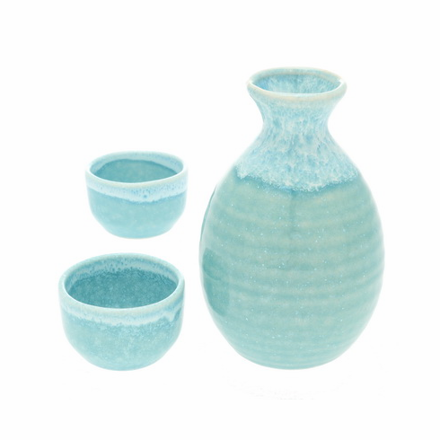 Kurima Green Surf Sake Container &  <br>2 Cups Set