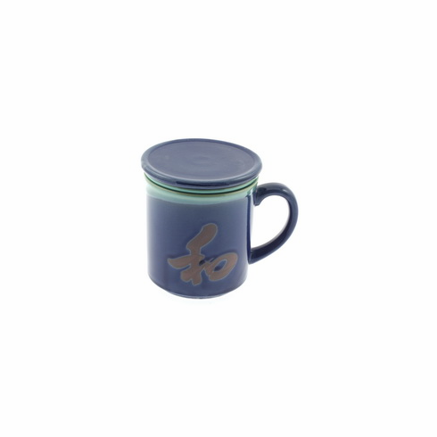 Lapis and Jade Peace Mug with Lid & Infusion Strainer, 10 oz.