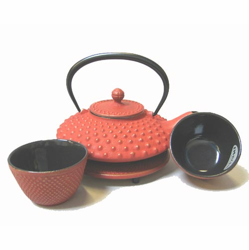 Large Gold and Red Hobnail Cast Iron Teapot 16 oz. Set by Iwachu