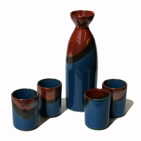 Let's Drink Sake Container & 4 Cups Set 8 oz.
