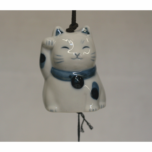 Lucky Kitty Ceramic Wind Chime