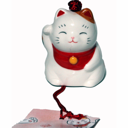 Lucky Kitty Ceramic Windchime