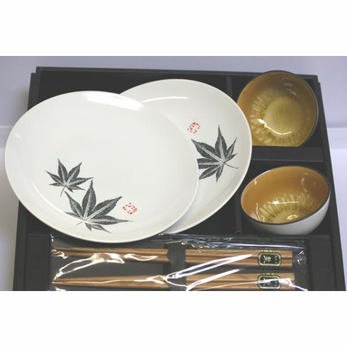 Maple Leaf White & Black Sushi Plates, Dipping Bowls and Chopsticks Set