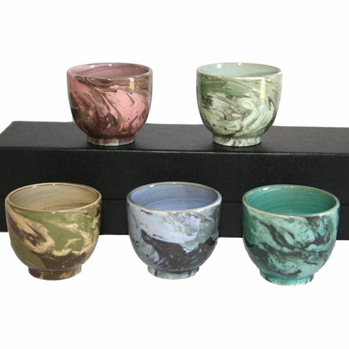 Marble Patterned Sake Cup Set