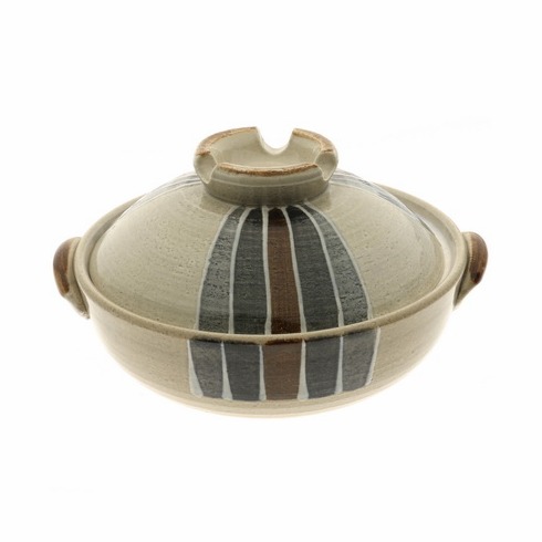 "Mingei Stripes Donabe/Japanese Hot Pot, 9-3/4"" & 10-3/4"", Made in Japan"