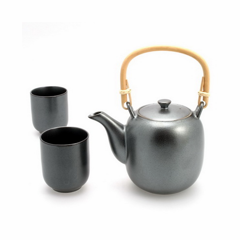 Natsume Iron Black Ceramic Teapot <br>with Wicker Handle &<br> Tea Cups Set, 26 oz.
