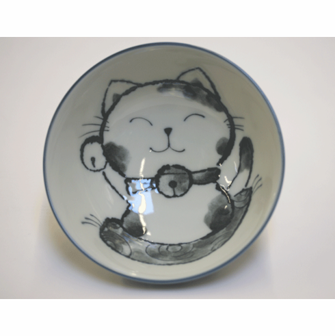 Navy Blue Happiness Cat Bowl