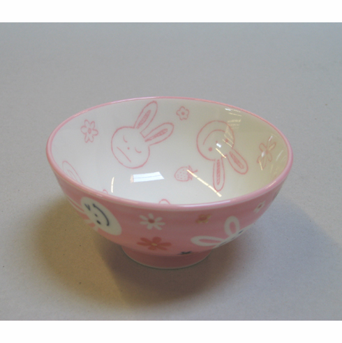 Pink Bunny Ceramic Rice Bowl