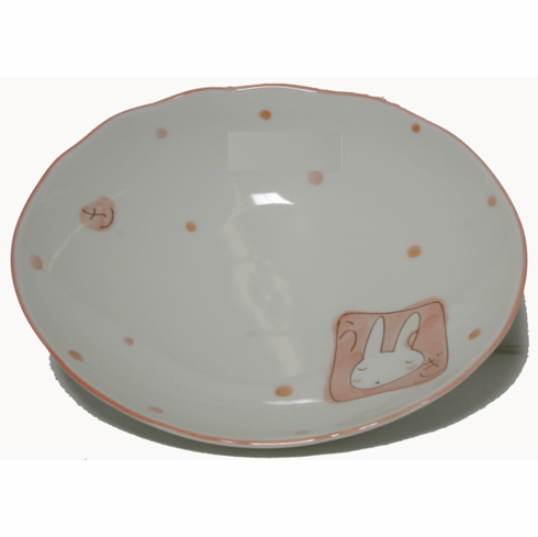 """Pink Bunny Plate, 7-5/8 x 6-1/4"""""""