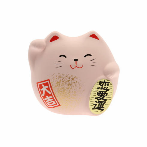 "Pink Ceramic Maneki Neko Love<br> Cat Charm ""Renai-un"""
