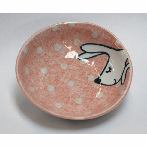 Pink Cottontail Rabbit Shallow<br> Fruit/Snack Bowl