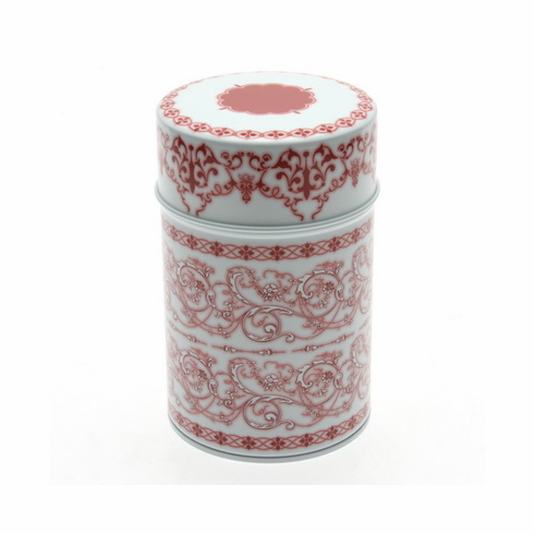 Red and White Filigree Tea Canister,  <br>150 grams