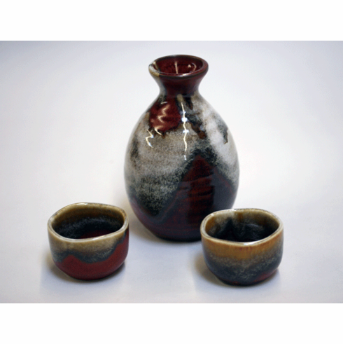 Red Desert Clouds Sake Container & 2 Cups Set