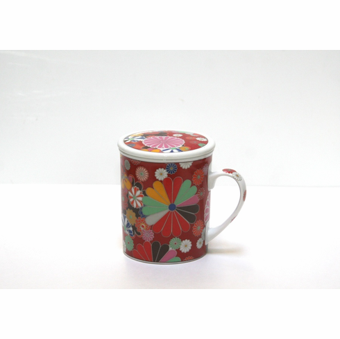 Red Floral Pos Mug with Lid 9 oz.