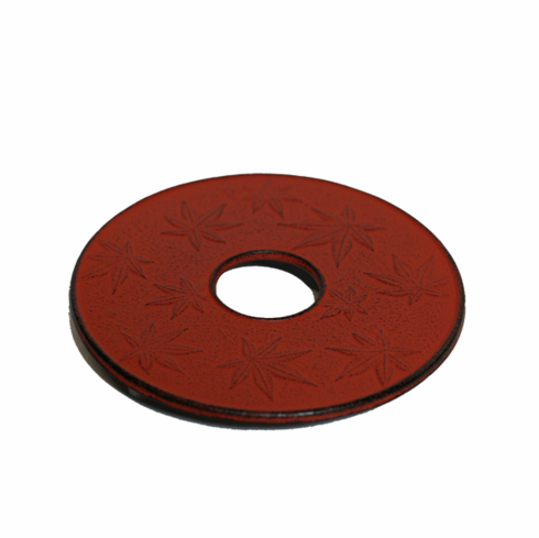 """Red Maple Leaf Trivet, Made by Iwachu, 6"""""""