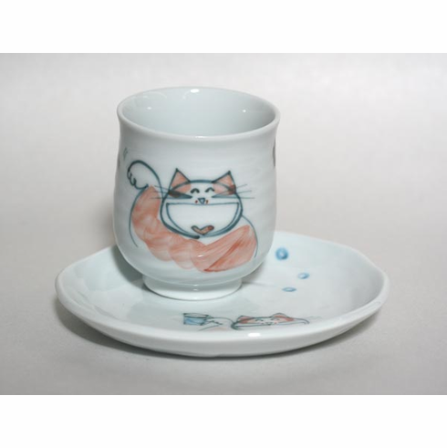 Red Party Kitty Tea Cup 8oz., with Matcing Plate