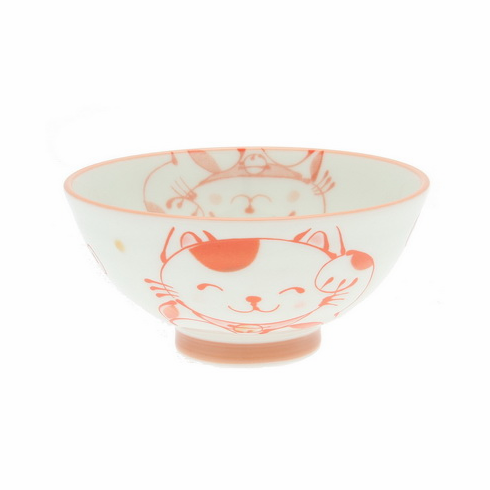 Red & White Lucky Kitty Bowl