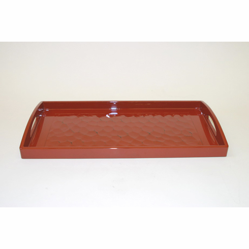 """Red Wooden Tray 17-3/4"""" by 9-1/4 """""""