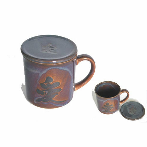 Reddish Brown & Black Mug with Lid, 10 oz.