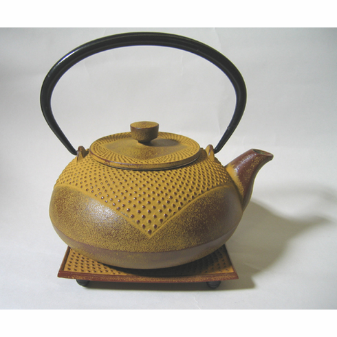Redish Brown Partial Hobnail Cast Iron Teapot 20 oz. and Trivet Set
