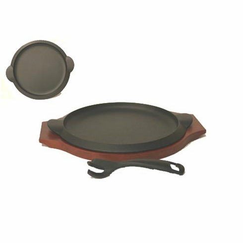 "Round Cast Iron Steak Pan 8"", Wood Tray and Iron Tong Set by Iwachu"