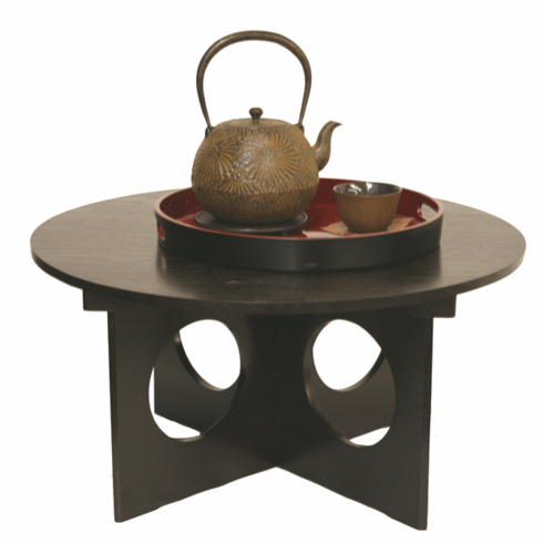 """Round Wooden Tray with Stand 23-3/4"""" Dia."""