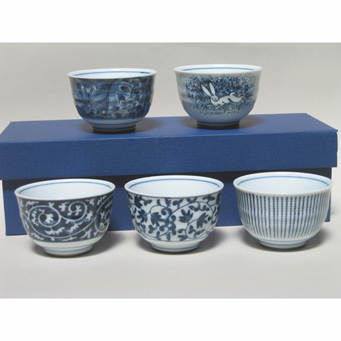"Set of Five Ceramic Tea Cups 4 oz.<font color=red><i>""Out of Stock""</i></font>"