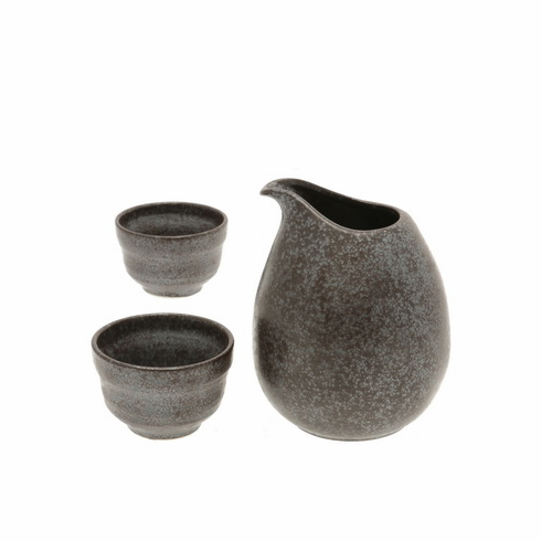 Silver & Brown Orb Sake Container & <br> 2 Cups Set