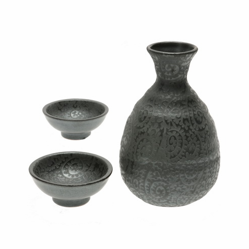 Slate Arabesque Sake Container &  <br>2 Cups Set