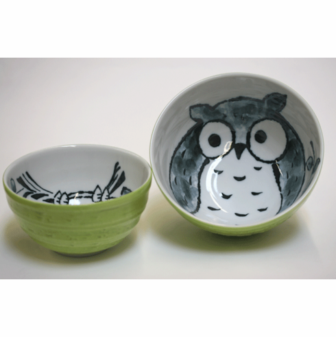 """Spring Green Owl Bowls 5-1/4"""" <br>or 6-1/4"""""""