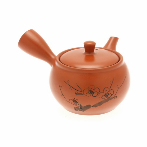 Tokoname Kyusu Tea Pot Red <br>Plum Branch, 14 oz.
