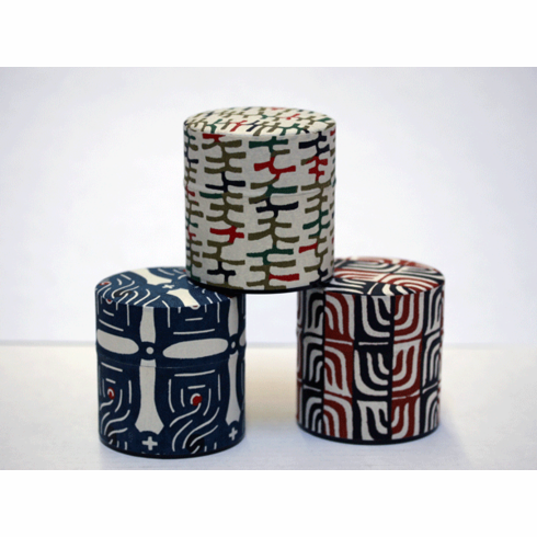 Tribal Cloth Pattern Tea Canisters Set, 100 grams