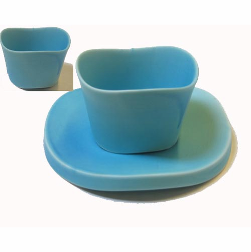 Turquoise Fanciful Ceramic Tea Cup and Saucer