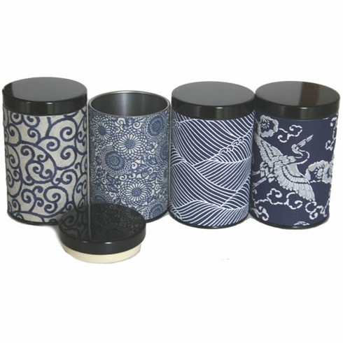 Two Different Size Multi Pattern <i>aizome</i> Tea Canisters, Set of Four, Holds 100 or 200  Grams