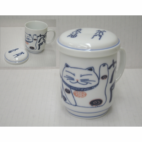 White and Blue Happy Cat Mug with Lid, 8 oz.