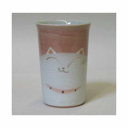 White Cat Ceramic Tea Cup with Red Background 8 oz.