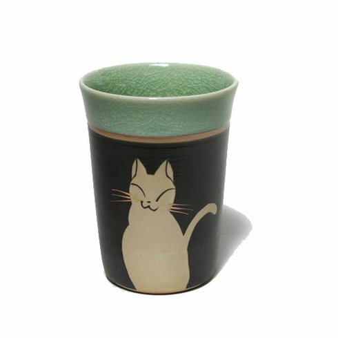 White Cat Tea Cup with  Green Crinkled Rim Glaze, 8 oz.