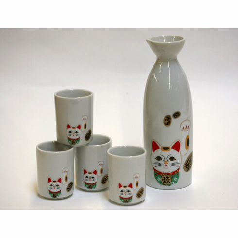 White Lucky Kitty Sake Container & 4 Cups Set