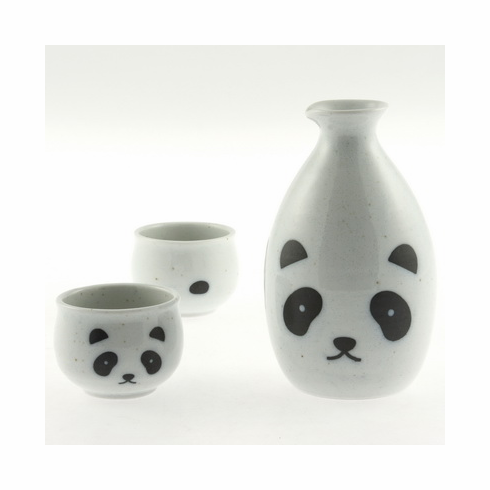White Panda Sake Container and 2 Cups Set