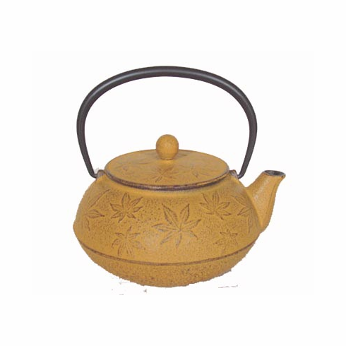"""Yellow Maple Leaf Cast Iron Teapot by Iwachu 20 oz.<font color=red><i>""""Out of Stock""""</i></font>"""