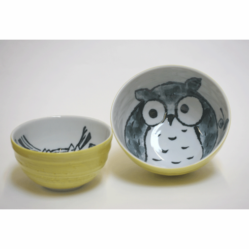 "Yellow Moon Owl Bowls 5-1/4"" <br>or 6-1/4"""