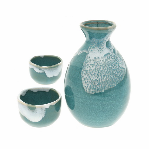 Zamami Blue Sake Container & 2 Cups Set