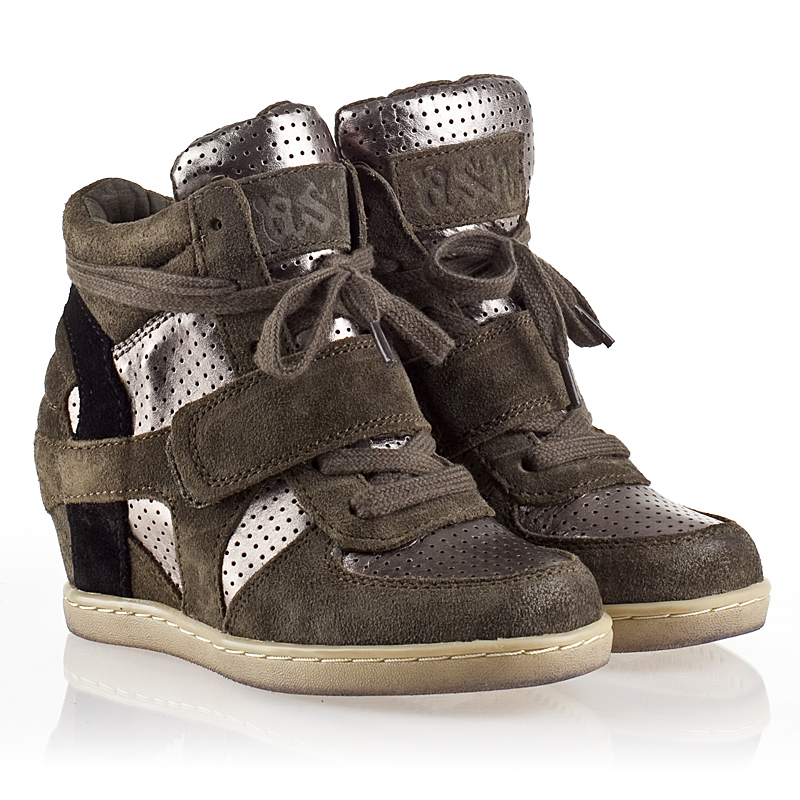 ash babe bis kids sneaker military suede and piombo
