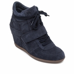 best seller ASH Bowie BIS Midnight Suede Wedge Sneaker