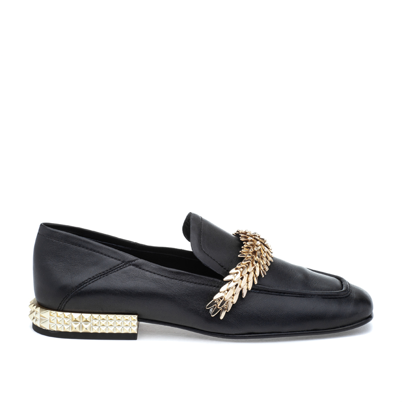 ASH Edgy Black Leather Loafer